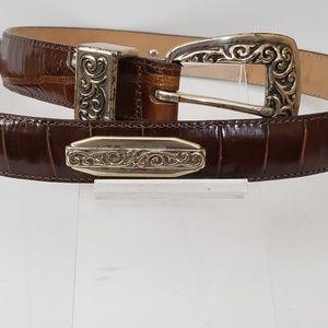 Brighton Womens Brown 44408 Moc Croc Leather Belt